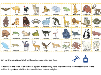 Animals and Their Habitats Matching Activity, Where is My Home?  Worksheets