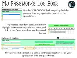 My Passwords - Log Book