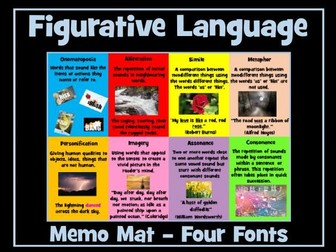 Similes, Metaphors, Personification, Onomatopoeia, Alliteration, Imagery, Consonance: Memo Mat
