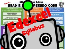 GCSE 9-1 Computer Science Poster: How to read and write Edexcel pseudo code