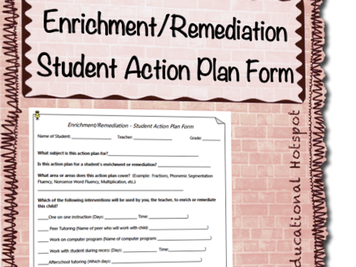 Awesome Enrichment And Remediation Student Action Plan Template Form