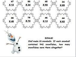 winter frozenthemed  digit x  digit multiplication worksheet by  winter frozenthemed  digit x  digit multiplication worksheet by  creativeclass  teaching resources  tes