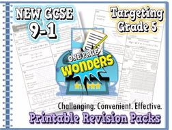 New Gcse Maths 9 1 Revision Pack With Solutions Target Grade 5 One Page Wonder