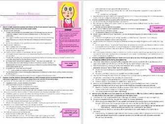 Sheila Birling Grade 9 Revision/Study Guide (An Inspector Calls 8 pages)