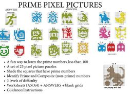 PRIME NUMBERS LESS THAN 100 - Via PRIME PIXEL PICTURES (set of 25) + more