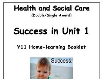 GCSE Health and Social Care Unit 1 Edexcel Revision / Homework Booklet Guide