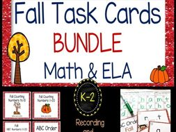 FALL Task Card, Scoot, Bundle for Reading and Math