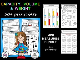 Capacity, Volume and Weight (UK version) – 50+ printables