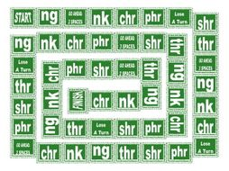 Phonics 2-3 Letter Digraphs ng-nk-chr-phr-shr-thr Text Board Game