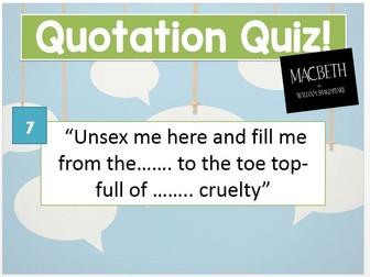 Macbeth Quotation Quiz