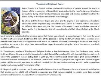 The Ancient Origins of Easter - Reading Comprehension Worksheet