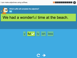 I can make adjectives using suffixes - Interactive Activity - Year 3 Spag