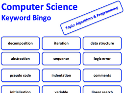 Computer Science keyword bingo game (All topics)