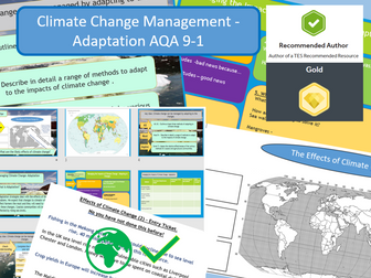 GCSE AQA 9-1: Climate Change - Management of climate change through adaptation. Global Warming.