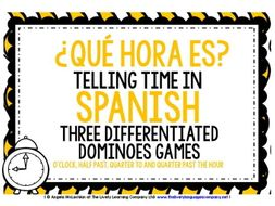 SPANISH TELLING TIME - 3 DIFFERENTIATED DOMINOES GAMES (1)