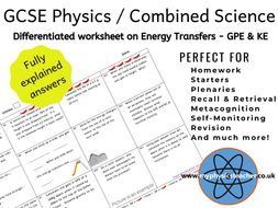 Resultant forces - Kinetic & Gravitational Potential Energy Differentiated GCSE Physics Science Work