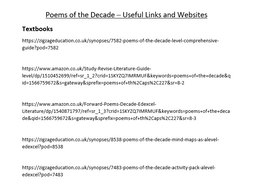 Poems of the Decade - Useful Links and Websites