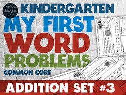 Kindergarten Word Problems Common Core • My First Word Problems • Addition SET 3