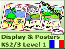 50 french display poster flashcards ks2 3 weather seasons clothes more by. Black Bedroom Furniture Sets. Home Design Ideas