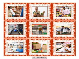 Shopping at Supermarket Cards 4 Pages = 36 Cards