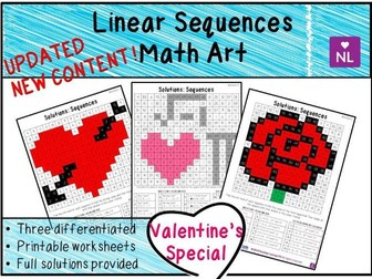 Linear Sequences Valentine Math Art Worksheets