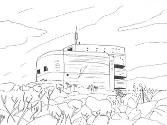 World War Two Bunker Colouring Page