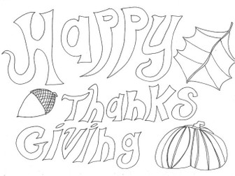 Thanks Giving: Special Days: Colouring Page