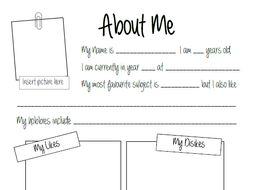 About Me: Get to Know Your Students (Worksheet)