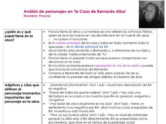 AQA A2 PONCIA character analysis notes for 'La Casa de Bernarda Alba' for A LEVEL SPANISH