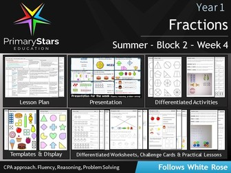 YEAR 1 - Fractions - White Rose - WEEK 4 - Block 2 - Summer- Differentiated Pack