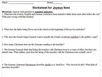 Joyeux Noel (movie) Worksheet -- with answer sheet