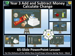 Money Year 3  - Add and Subtract Money and Calculate Change PowerPoint Lesson