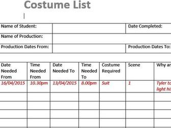 Costume List (Film & TV/Media Students)