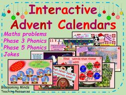 Year 1 Interactive Christmas Advent Calendar Bundle