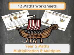 Viking Themed Multiplication Problems (Including Multiples) for Year 5 Classes