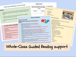 English- Whole-Class Guided Reading support sheet for teachers