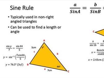 Trigonometry & Pythagoras Revision Sheet