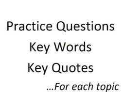 RE GCSE Revision Questions, Key Words and Key Quotes