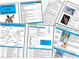 Btec Level 3 - Sport - Unit 1 - Skeletal System Revision Notes/Guide - Includes Tick List & Test