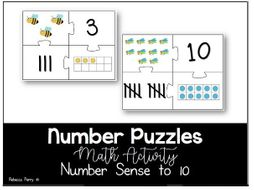 Number Puzzles to 10 - Maths Activity - Number Sense
