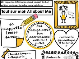 French 'Tout sur moi' All about me sheet- End of Year or First Lesson Back activity