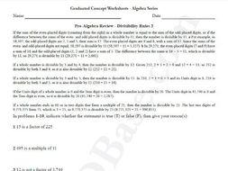 Basic Algebra Worksheet 4 – Pre-Algebra Review - Divisibility Rules 3