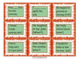 Past Simple Regular Verb Cards 4 Pages = 36 Cards