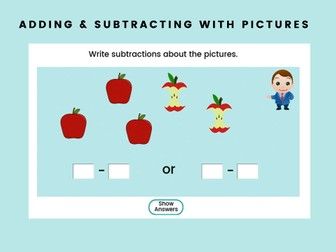 Adding & Subtracting With Pictures - Year 1