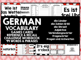 GERMAN VOCABULARY CARDS WITH REFERENCE & RECALL WORKBOOK #4
