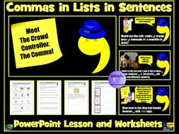 Commas In Lists PowerPoint Lesson and Worksheets