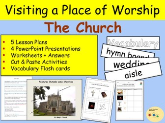 Christianity - Visiting a Place of Worship - Church, Flash cards, Worksheets, Writing - Keystage 1