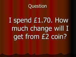 Bingo - Change from £1, £2, 10p, 20p, 30p