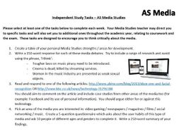 Media Studies A Level – 60 Independent Study / Homework Tasks