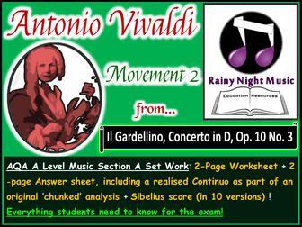 VIVALDI CONCERTO in D MAJOR GARDELLINO 2nd MOVEMENT AQA A Level Music Section A